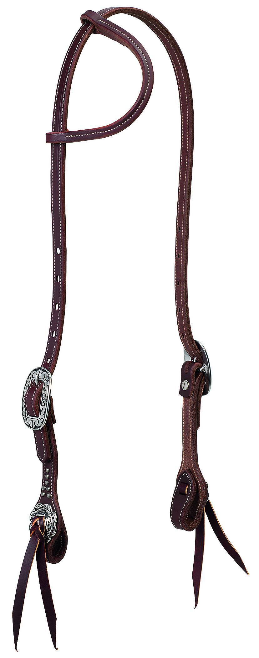 Weaver Working Tack Sliding Ear Headstall - Floral Hardware