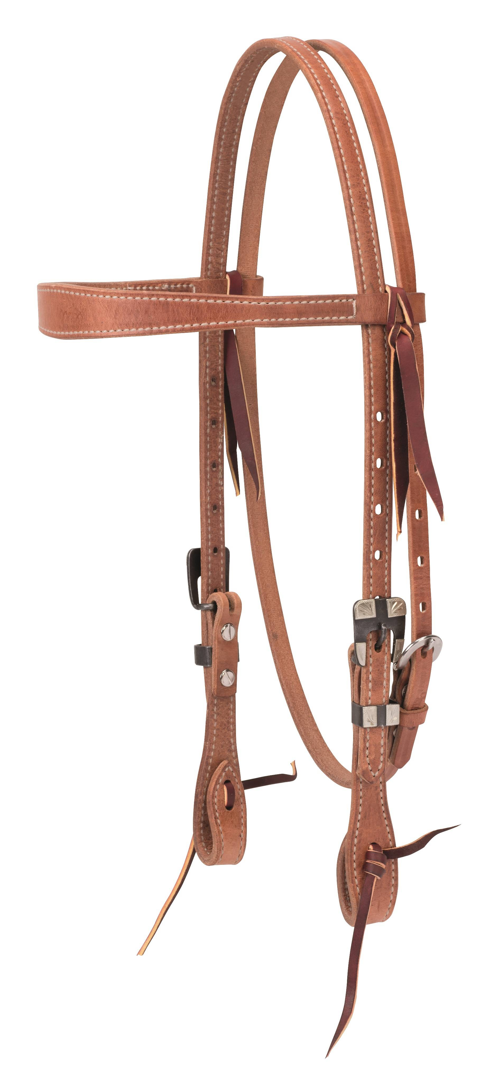 Weaver Premium Harness Leather Slim Cowboy Browband Headstall - Buffed Black Hardware