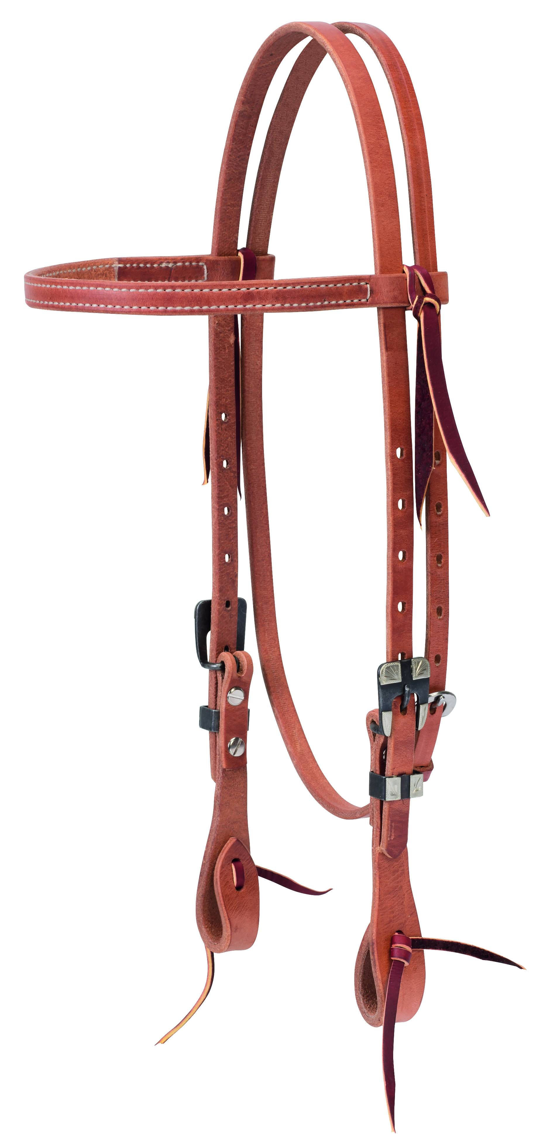 Weaver Premium Harness Leather Straight Browband Headstall - Buffed Black Hardware
