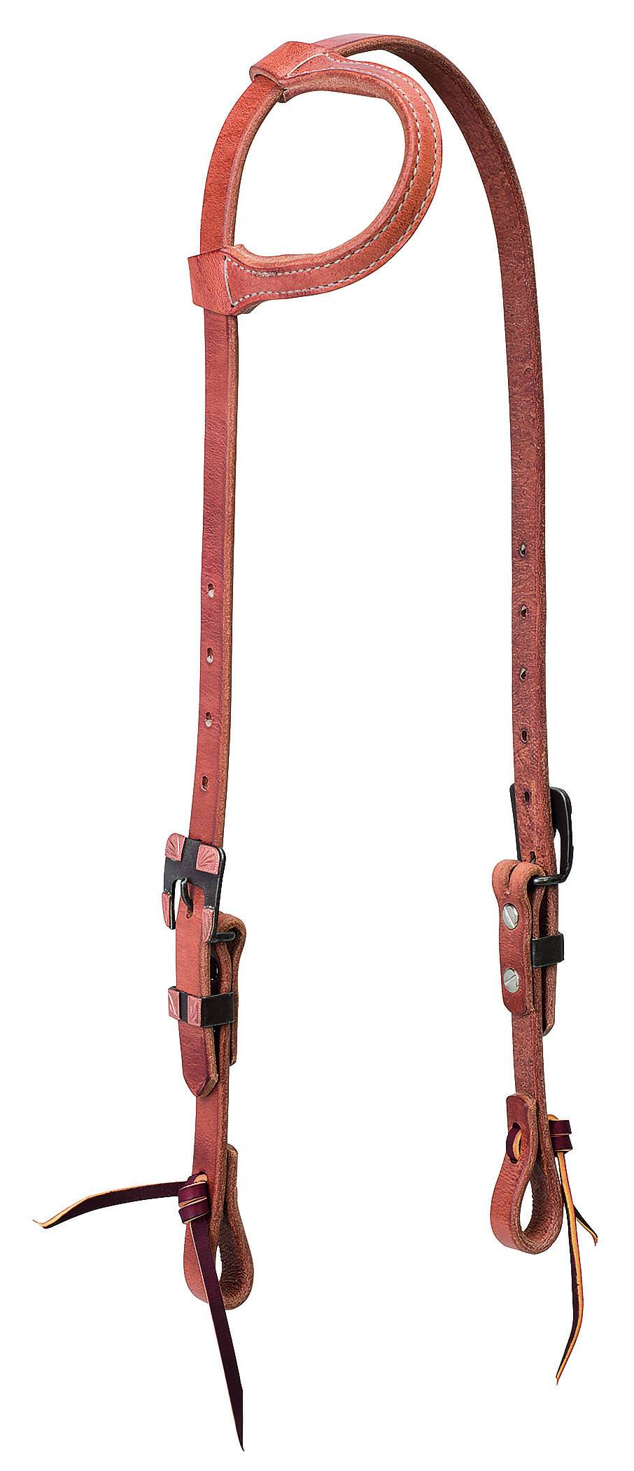 Weaver Protack Sliding Ear Headstall With Brown Hardware
