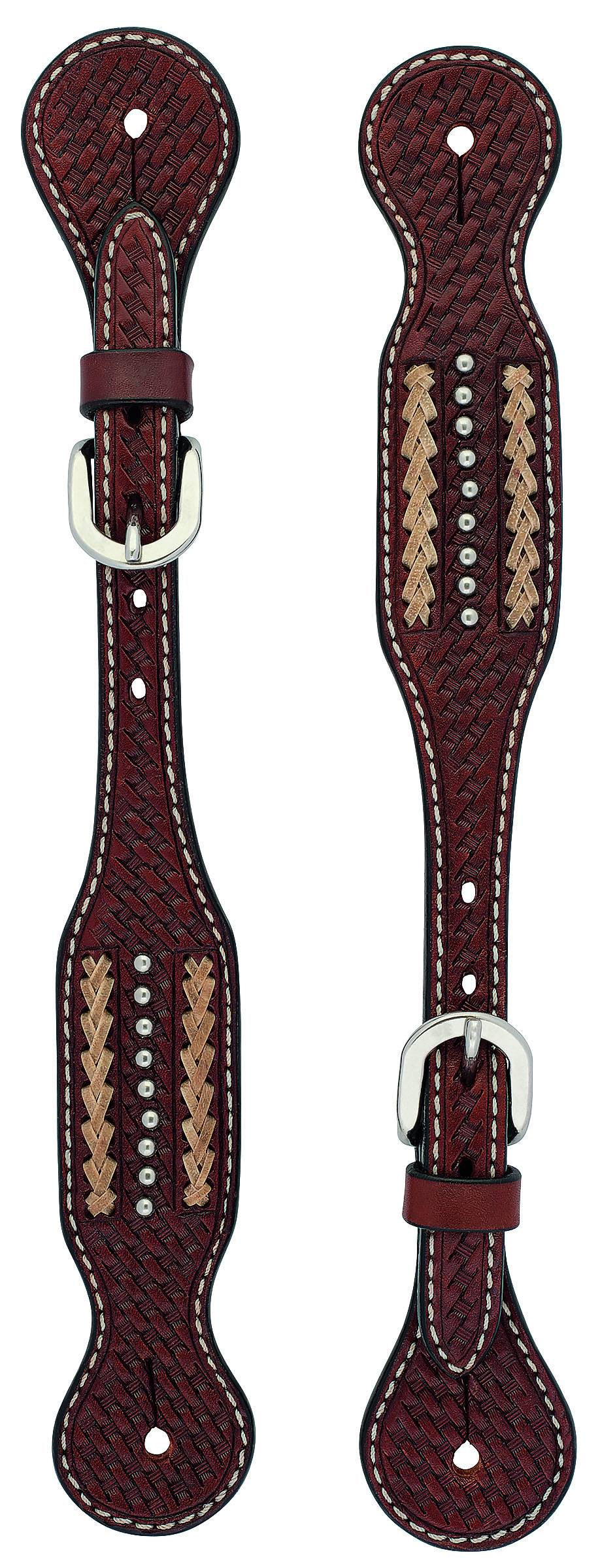 Weaver Cross Basketweave Rawhide Accent Spur Straps - Mens