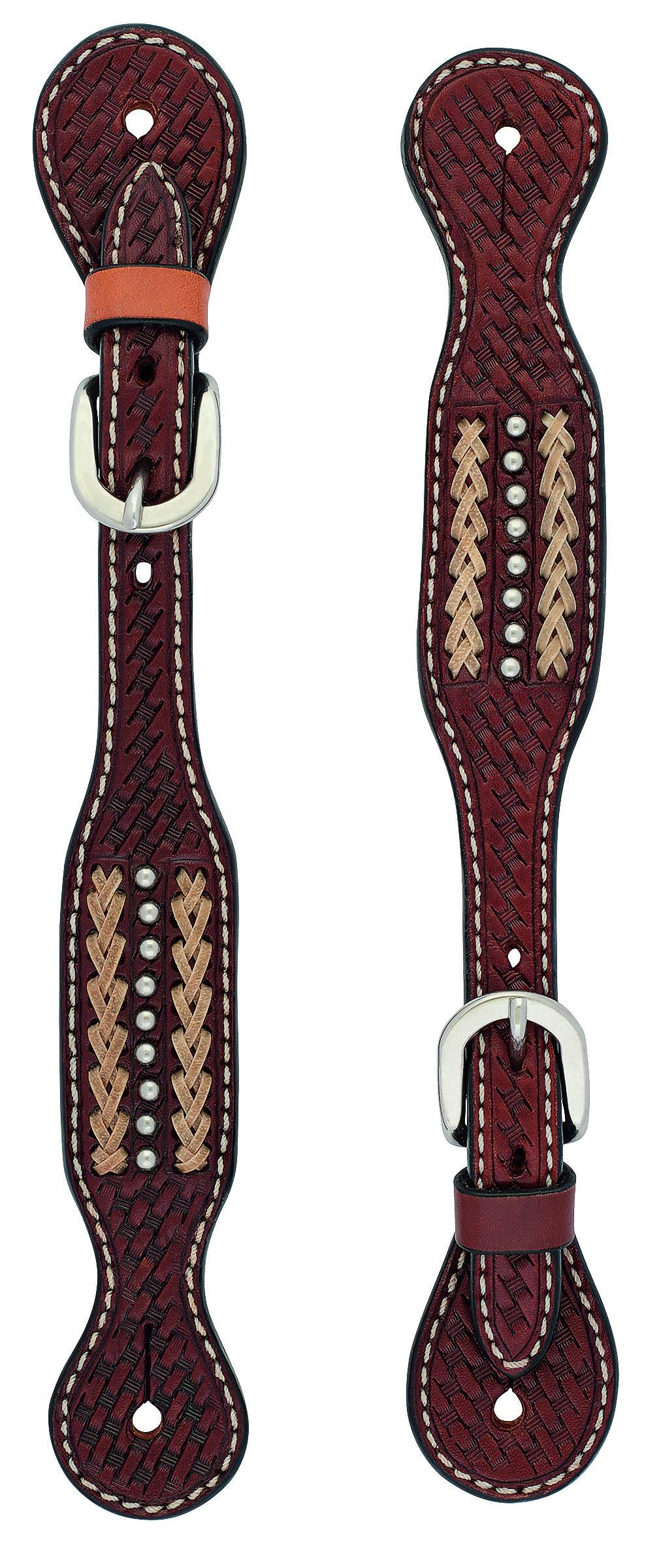 Weaver Cross Basketweave Rawhide Accent Spur Straps - Ladies