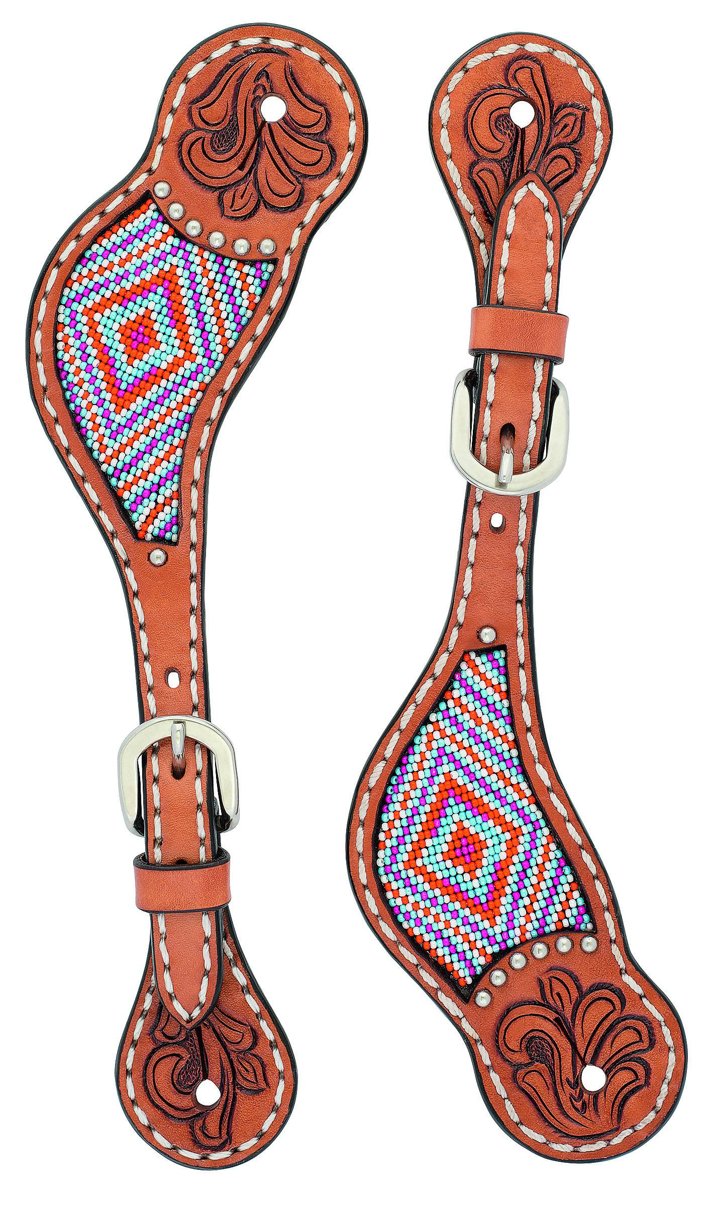 Weaver Floral Tooled Beaded Spur Straps - Ladies