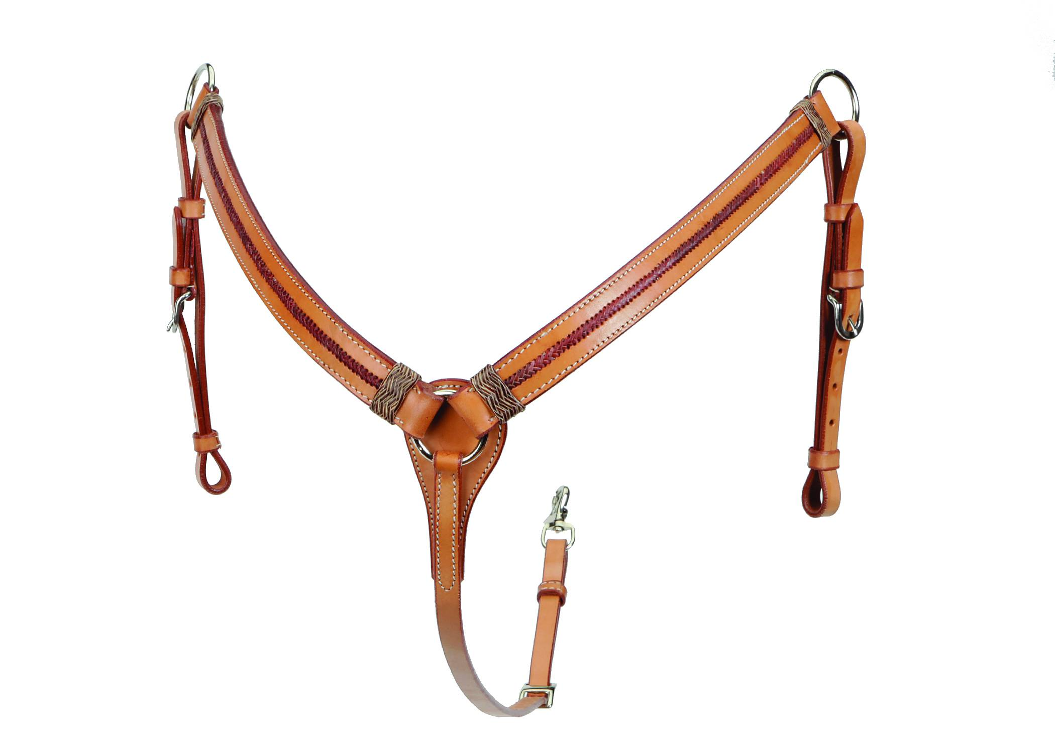Colorado Saddlery Breast Collar With Red Rawhide Overlay