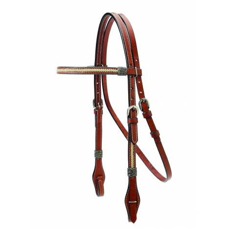 Colorado Saddlery Browband Headstall With Braided Rawhide Overlay