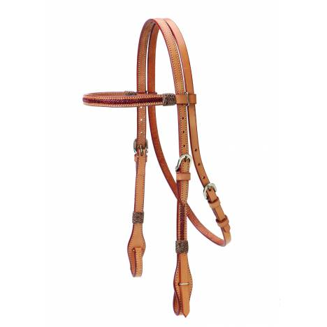 Colorado Saddlery Browband Headstall With Braided Red Rawhide Overlay