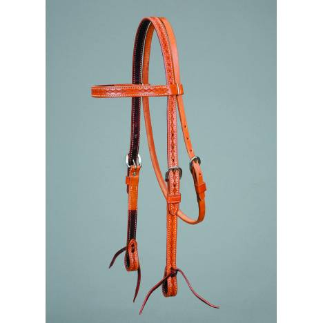 Colorado Saddlery Colorado Gold Border Tooled Browband Headstall