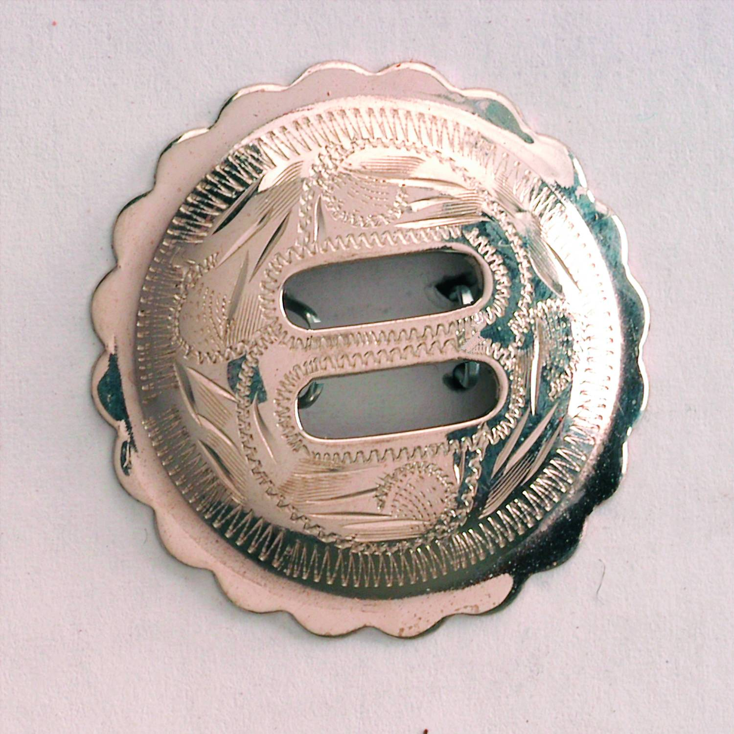 Colorado Saddlery Engraved Scallped Edge Slotted Nickel Silver Rosette