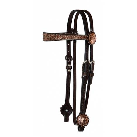 Reinsman Copper Concho 5/8'' Flared Overlay Browband Headstall