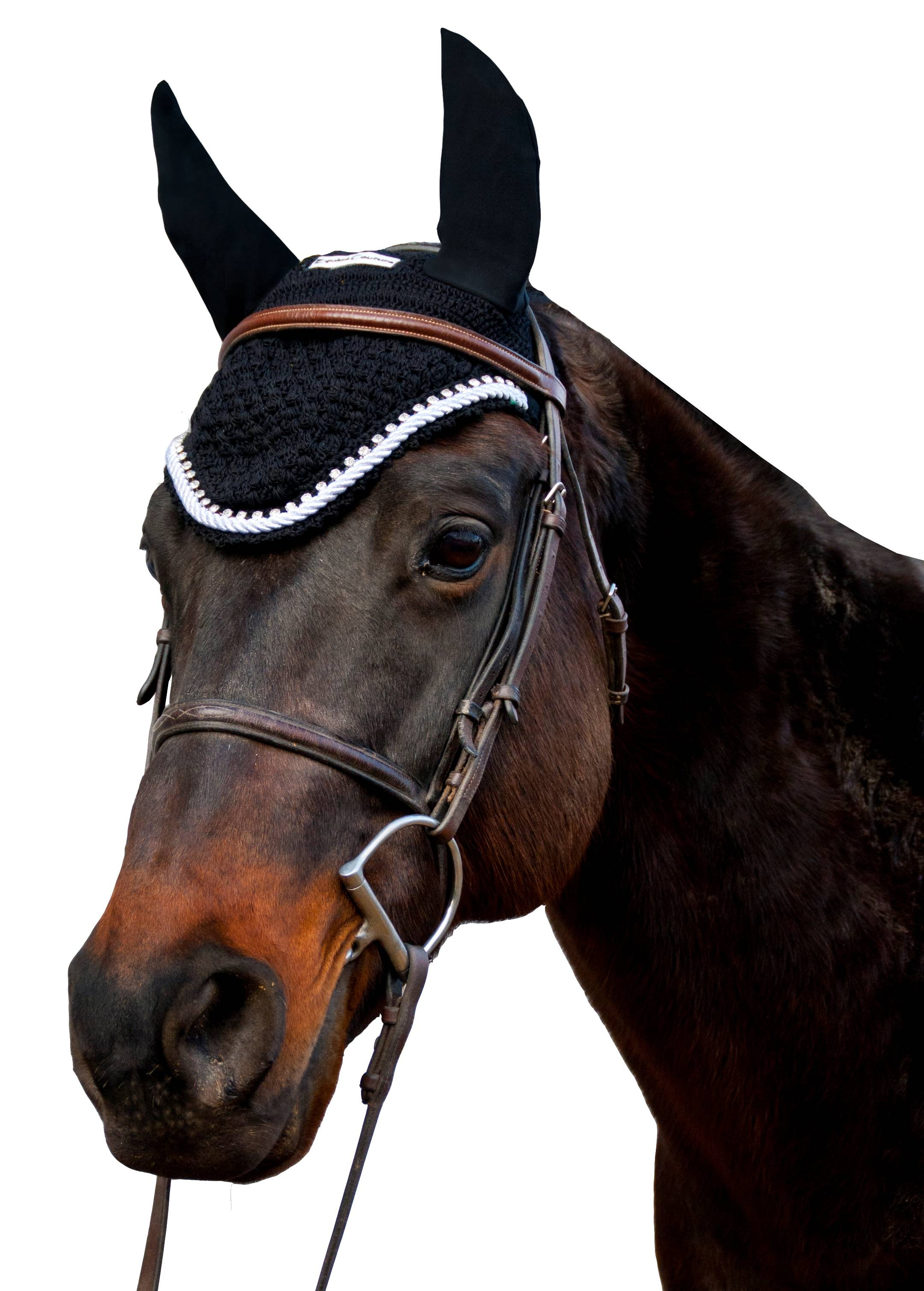 Equine Couture Fly Bonnet- Silver Rope & Crystals