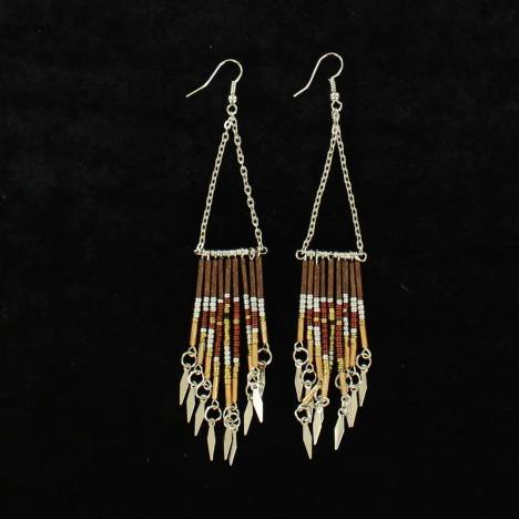 Blazin Roxx Beaded Dangle Triangle Drop Earrings