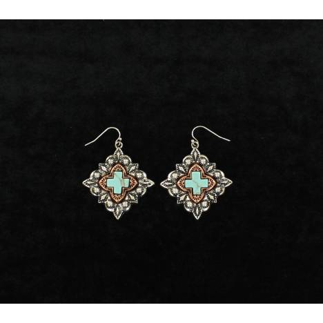 Blazin Roxx Western Diamond Cross Dangle Earrings