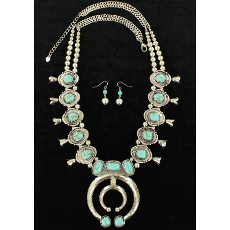 Blazin Roxx Stone Squash Blossom Necklace And Ball Drop Earrings Set