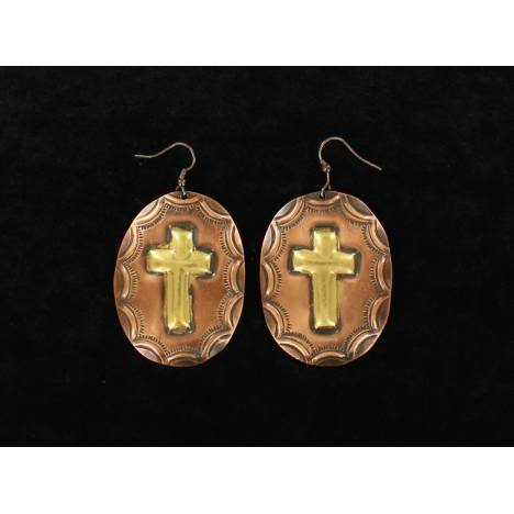 Blazin Roxx Large Oval Stamped Disc Cross Earrings