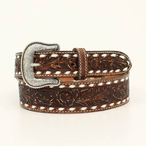 Nocona Belt Company Mens Cheyenne Laced Edge Embossed Belt And Buckle
