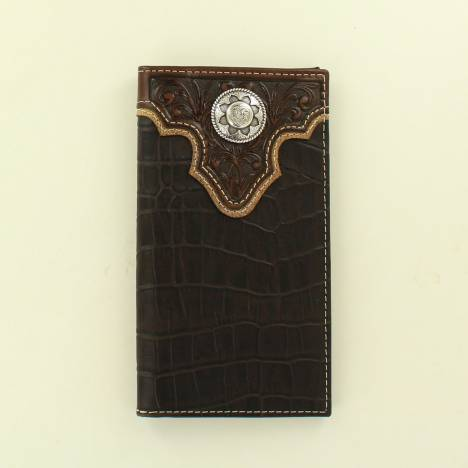 Nocona Mens Rodeo Croc Embossed Overlay Concho Wallet