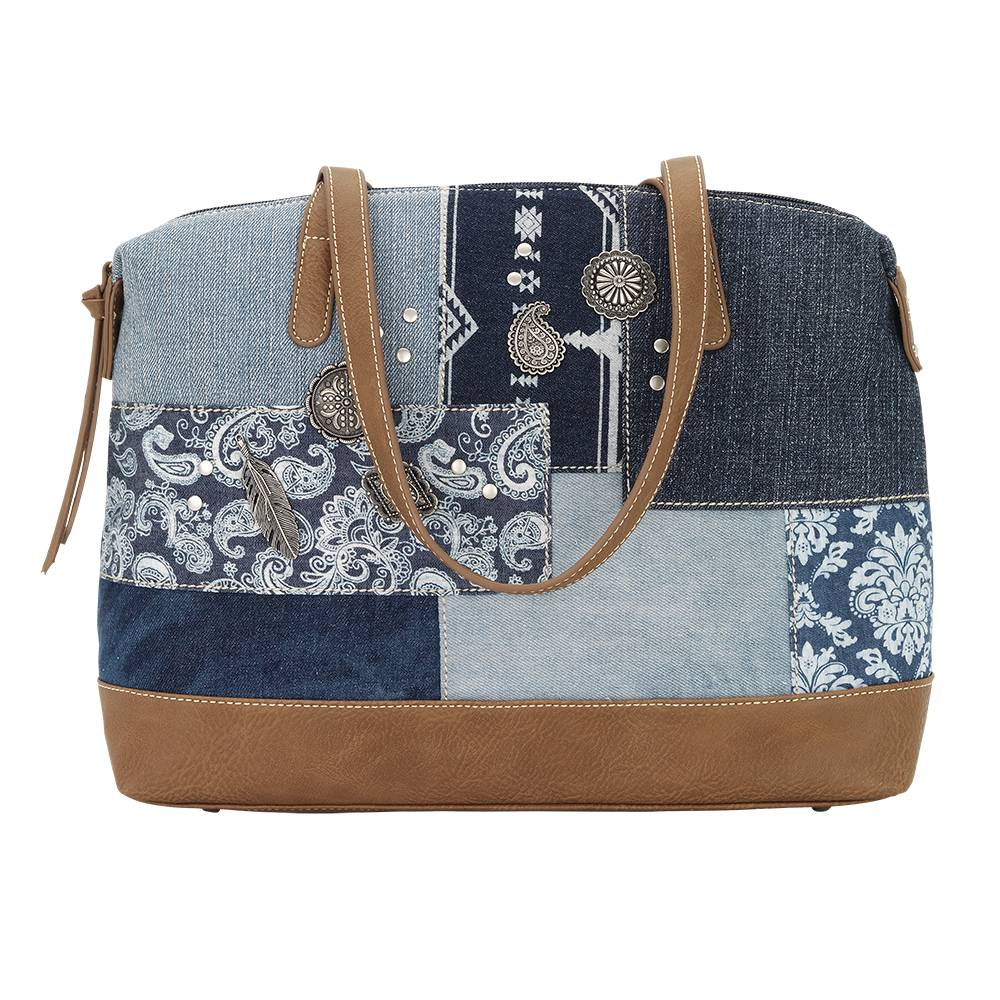 Bandana Indigo Zip Top Satchel Tote