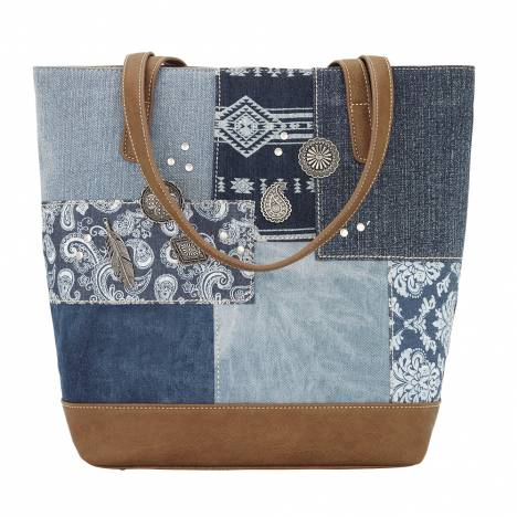 Bandana Indigo Zip Top Bucket Tote