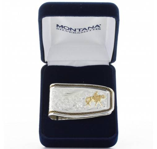 Montana Silversmiths Two Tone Softly Roped Riding For The Brand Money Clip