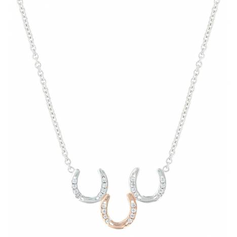 Montana Silversmiths Two Tone Triple Horseshoe Necklace