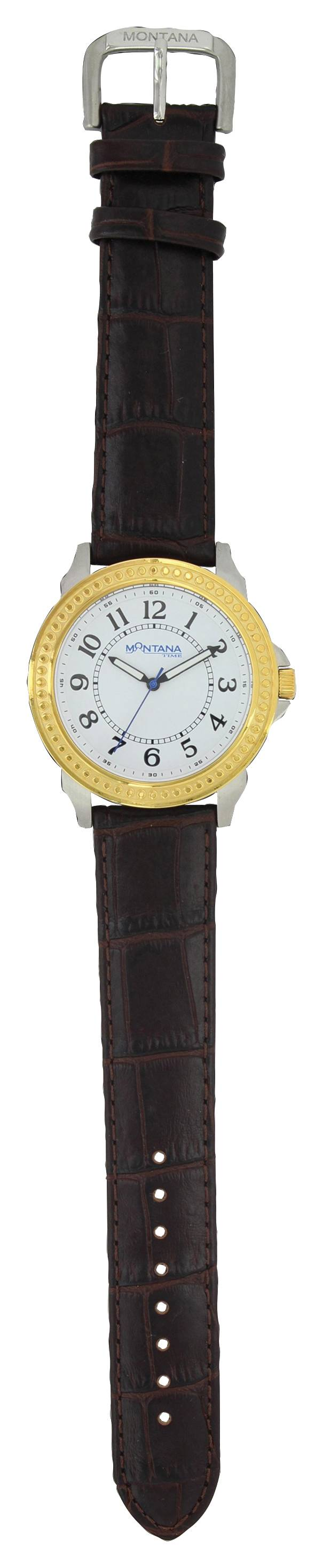 Montana Silversmiths Two Tone Montana Quartered Leather Watch