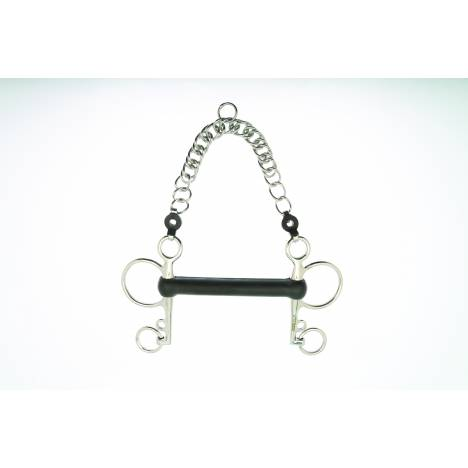 Metalab 20 MM Mullen Mouth Hard Rubber Pelham with Curb Chain