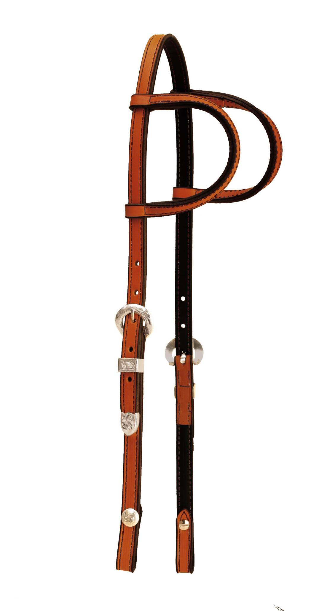 Tory Leather Double Ear Headstall- 3-Piece Silver Buckle Set