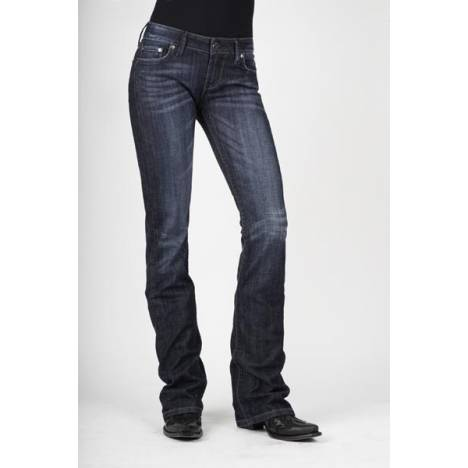 Stetson Ladies 818 Fit Navy And Clear Rhinestones Back Pocket Boot Cut Jeans