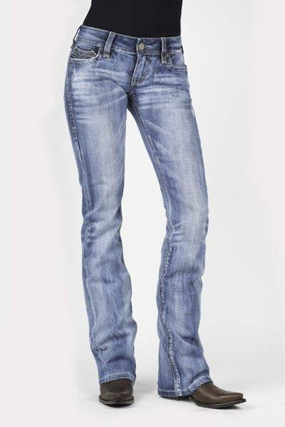 Stetson Ladies 818 Fit Stylized V Three Loops Deco Back Pocket Boot Cut Jeans