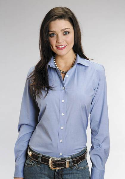 Stetson Ladies C2 End On End Long Sleeve Button Shirt - Blue
