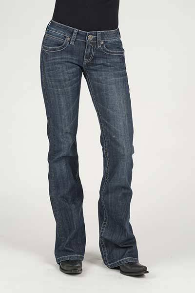 Stetson Ladies Contrast Chain Stitch Back Pocket Flared Leg Jeans