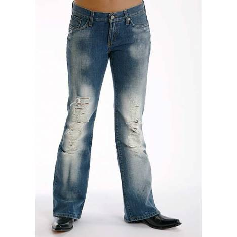 Stetson Ladies Destructed Whiskey Wash Denim Flared Leg Jeans