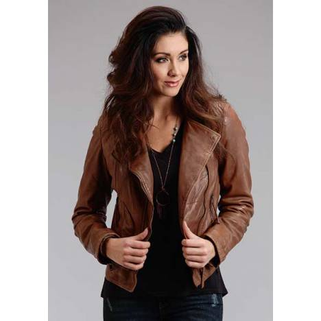 Stetson Ladies Diamond Quilted Motto Style Lamb Leather Jacket