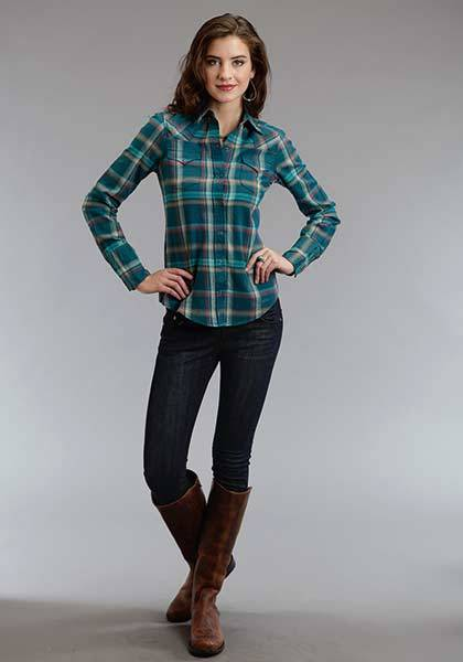 Stetson Ladies Fall II Brushed Twill Ombre Plaid Long Sleeve Snap Shirt
