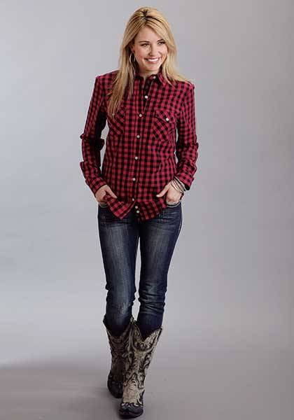 Stetson Ladies Fall II Buffalo Check Long Sleeve Snap Shirt