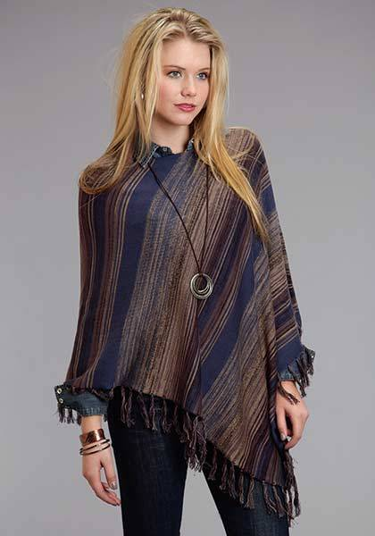 Stetson Ladies Fall III Blue Tone Stripe Scoop Neck Poncho