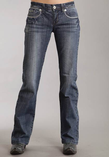 Stetson Ladies Medium Wash Fancy Contrast Top Stitch Boot Cut Jeans