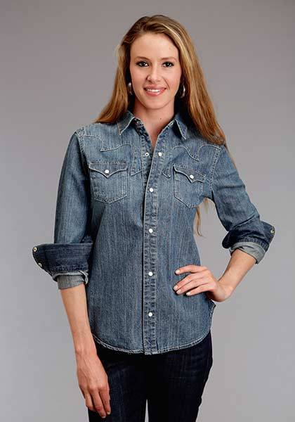 Stetson Ladies Spring I Boyfriend Fit Classic Western Long Sleeve Snap Shirt
