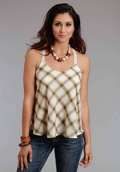 Stetson Ladies Spring I Light Weight Ombre Plaid Tank