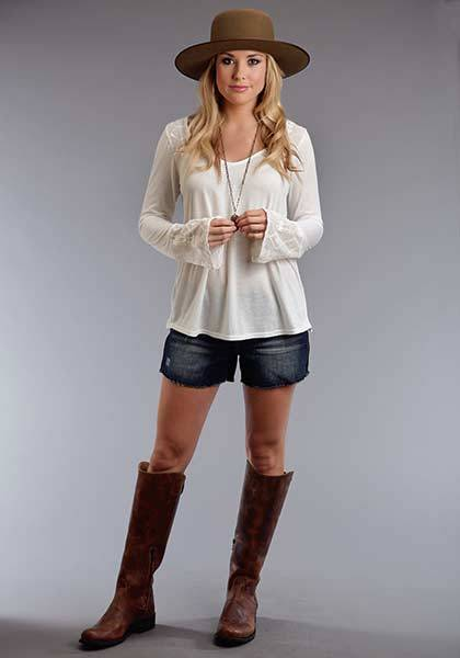 Stetson Ladies Summer II Poly Knit Peasant Top