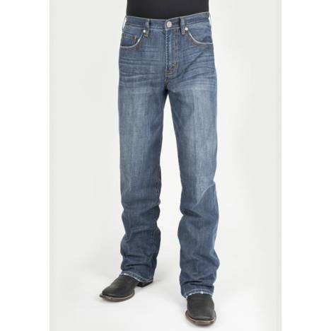 Stetson Mens 1312 Modern Fit Heavy X Navy Pocket Deco Jeans