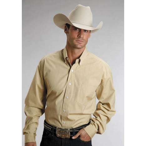 Stetson Mens C2 End On End Pocket Long Sleeve Shirt - Gold