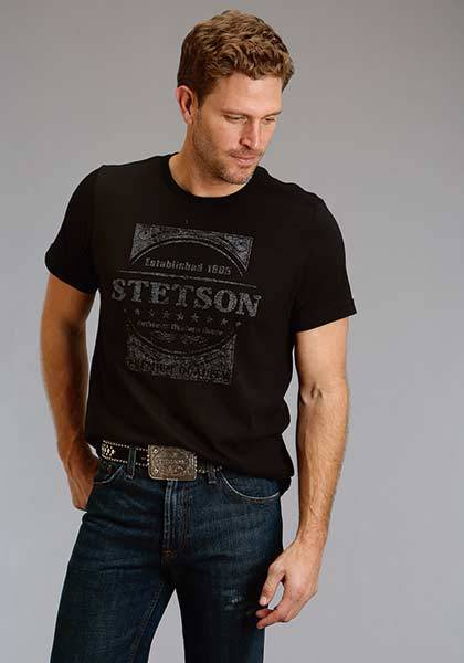 Stetson Mens Distress Western Goods T-Shirt