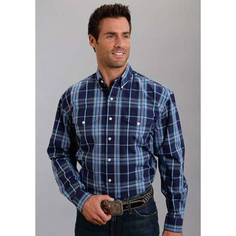 Stetson Mens Fall I Midnight Plaid Long Sleeve Button Shirt