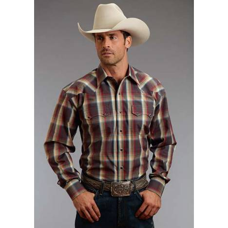 Stetson Mens Fall I Sandstone Ombre Long Sleeve Snap Shirt