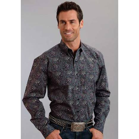 Stetson Mens Fall III Romance Paisley Print Long Sleeve Button Shirt