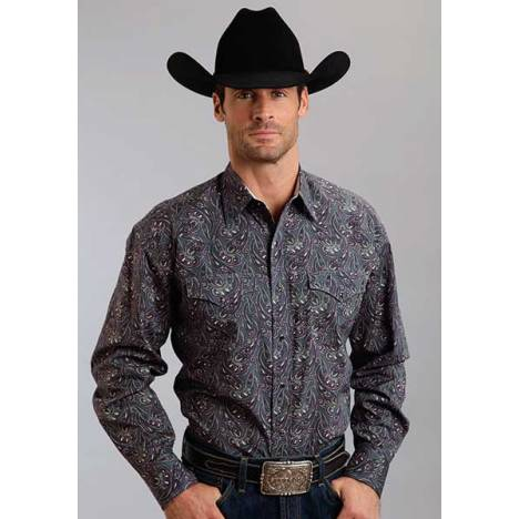 Stetson Mens Fall III Romance Paisley Print Long Sleeve Snap Shirt