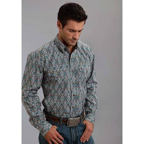 Stetson Mens Fall Patterned Long Sleeve Snap Shirt - Mahogany