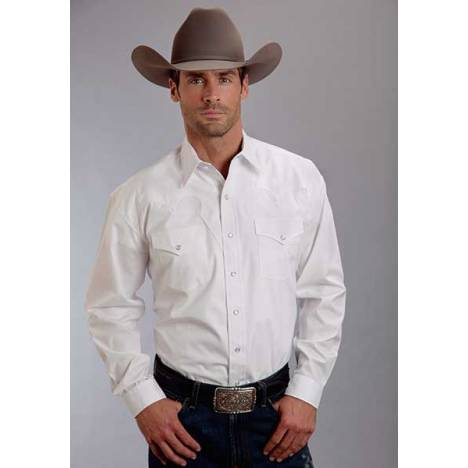 Stetson Mens Optic Poplin Long Sleeve Shirt - White