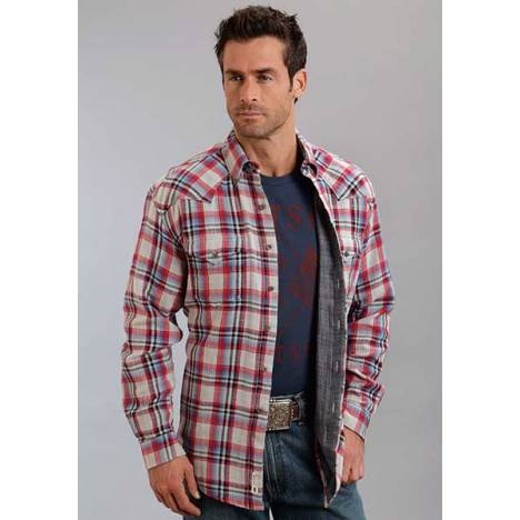 Stetson Mens Original Rugged Herringbone Plaid Long Sleeve Button Shirt